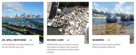 Išsiliejusios naftos, plastiko šiukšlių ir jūros dumblių surinkimo įranga